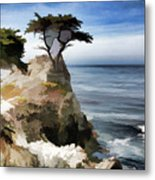 Lone Cypress Tree Pebble Beach  Metal Print