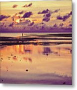 Lone Fisherman In Distance During Beautiful Reflected Sunset With Dramatic Clouds In Maldives Metal Print