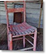 Lone Red Chair Metal Print