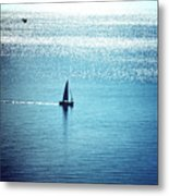 Lone Sailboat At Dawn Metal Print