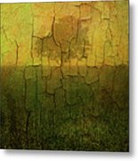 Lone Tree In Meadow -textured Metal Print