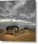 Lonely Beach Shacks Metal Print