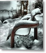 Lonely Bench In Snowfall Metal Print