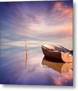 Lonely Boat And Amazing Sunset At The Sea Metal Print