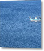 Lonely Fishing Boat Sailing On A Calm Blue Sea Metal Print