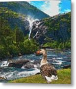 Lonely Near The Waterfall 1 Metal Print