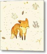 Lonely Winter Fox Metal Print