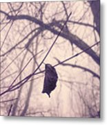 Lonely Winter Leaf Metal Print