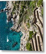 Long And Twisted Walk To The Shore - Azure Magic Of Capri Metal Print