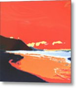 Long Blue Beach Metal Print