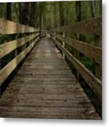 Long Boardwalk Through The Wetlands Metal Print