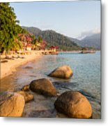 Long Chairs On A Beach In Pulau Tioman, Malaysia Metal Print