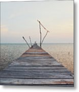 Long, Empty And Old Wooden Dock Over The Water At Sunset Metal Print