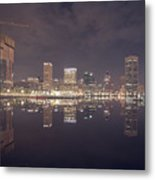 Long Exposure Of The Colorful Baltimore Skyline Metal Print