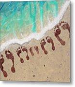 Long Family Beach Feet Metal Print