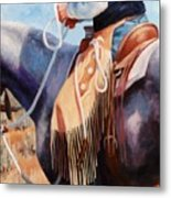 Long Fringed Chink Chaps Western Art Cowboy Painting Metal Print