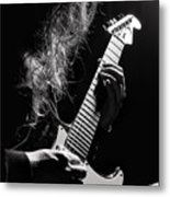 Long Hair Man Playing Guitar Metal Print
