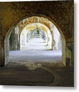 Long Hall At Fort Pickens Metal Print