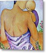 Long Impasto Motherhood Vertical Painting  Metal Print