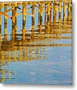 Long Wooden Pier Reflections Metal Print