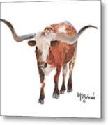 Longhorn 17 Big Daddy Watercolor Painting By Kmcelwaine Metal Print