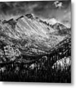 Longs Peak Rocky Mountain National Park Black And White Metal Print