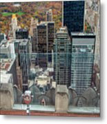 Looking Down At New York Central Park Surounded By Buildings Metal Print