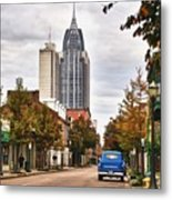 Looking Down Dauphin Street And The Blue Truck Metal Print