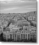 Looking Down On Barcelona From The Sagrada Familia Black And White Metal Print