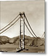 Looking North At The Golden Gate Bridge Under Construction With No Deck Yet 1936 Metal Print