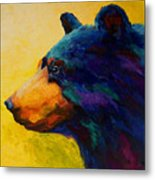 Looking On II - Black Bear Metal Print
