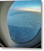 Looking Out Of Airplane Window During Flight Metal Print