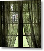 Looking Out The Window Of A Log Cabin Metal Print