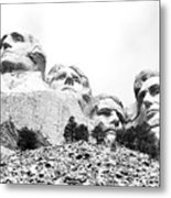Looking Up At Mount Rushmore National Monument South Dakota Black And White Metal Print