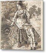 Lorenz Frolich Danish, Copenhagen 1820-1908 Hellerup, Three Little Girls In A Room Arguing And Spi Metal Print