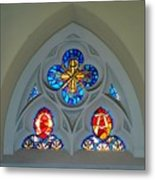 Loretto Chapel Stained Glass Metal Print