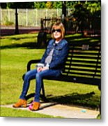 Lorna On A Bench Metal Print