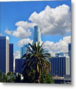 Los Angeles And Palm Trees Metal Print