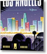 Los Angeles Poster - Retro Travel  Metal Print