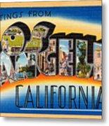 Los Angeles Vintage Travel Postcard Restored Metal Print