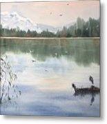 Lost Lagoon With Blue Heron Metal Print