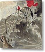 Lotus Mandarin Duck Metal Print