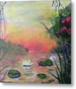 Lotus Pond Fantasy Metal Print