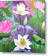 Lotus Trio Metal Print