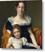 Louis David   Portrait Of The Comtesse Vilain Xiiii And Her Daughter Metal Print