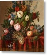 Louis Vidal, Still Life With Flowers And Fruit Metal Print