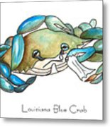 Louisiana Blue Crab Metal Print by Elaine Hodges