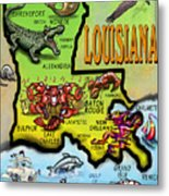 Louisiana Cartoon Map Metal Print