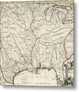Map Of Louisiana And Of The River Mississippi Metal Print