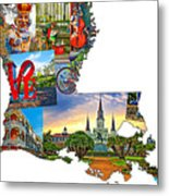 Louisiana Map - New Orleans Metal Print